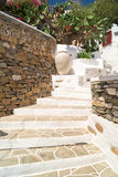 Traditional greek alley on Sifnos island Royalty Free Stock Photos