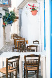 Traditional greek alley on Sifnos island Royalty Free Stock Photography