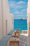 Traditional greek alley on Sifnos island Royalty Free Stock Images