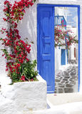 Traditional Greek balcony in Santorni island Stock Images