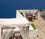 Traditional Greek cafeteria on Santorini island Stock Photography