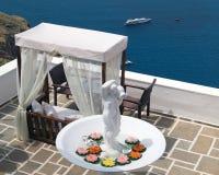 Traditional Greek cafeteria on Santorini island Royalty Free Stock Photos