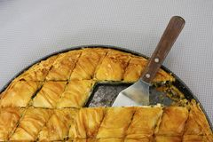 Cheese pie close up pieces. Traditional greek Cheese in pan shot from above Stock Images