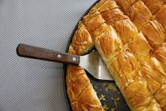 Cheese pie close up. Traditional greek Cheese pie close up Royalty Free Stock Photography