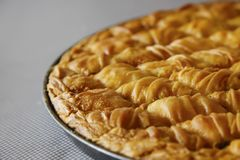 Cheese pie close up pieces. Traditional greek Cheese pie Filo Pastry close up Royalty Free Stock Image