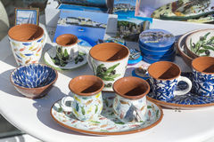 Traditional greek  clay cups Royalty Free Stock Image