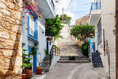Traditional Greek color street of Sitia town on Crete island Stock Images