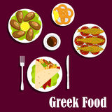 Traditional greek cuisine dinner flat icon Stock Image