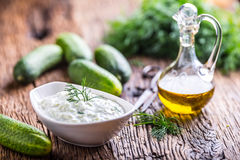 Traditional greek dip sauce or dressing tzatziki prepared  with grated cucumber sour cream yogurt olive oil and fresh dill. Royalty Free Stock Image