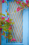 Traditional greek door with a bougainvillea flowers Royalty Free Stock Photos