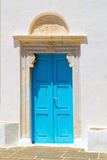 Traditional Greek door located on Mykonos island Royalty Free Stock Photography