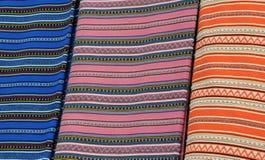 Traditional Greek Fabrics. Closeup image of bright traditional Greek fabrics Royalty Free Stock Image