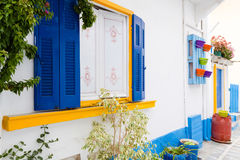Traditional Greek facade of house Stock Photography