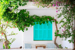 Traditional Greek facade of house Stock Images