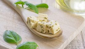 Traditional Greek feta cheese cubes Stock Photo