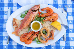Traditional Greek Fish Plate Meze Stock Photo
