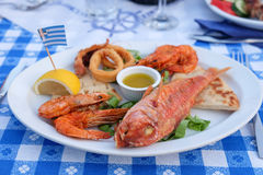 Traditional Greek Fish Plate Meze Royalty Free Stock Photography