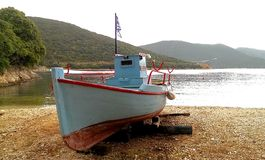 Traditional Greek fishing boat Stock Photo