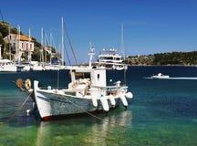 Traditional Greek Fishing Boat , Fiscardo, Kefalonia stock images