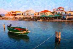 Traditional Greek Fishing Boat, Lefkada, Greece, Oil Painting Style. Oil painting style image of a colourful traditional wooden Greek fishing boat in the Lefkada stock image