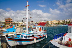 Traditional Greek fishing boat at port of Sitia town at eastern part of Crete island, Greece Royalty Free Stock Photography