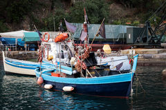Traditional Greek fishing boats at harbor of Sitia town on eastern part of Crete island, Greece Stock Photography