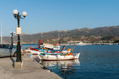 Traditional Greek fishing boats at harbor of Sitia town on eastern part of Crete island, Greece Royalty Free Stock Images