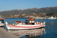 Traditional Greek fishing boats at harbor of Sitia town on eastern part of Crete island, Greece Stock Photo