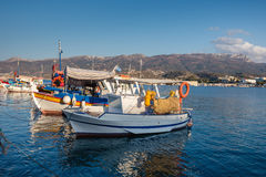 Traditional Greek fishing boats at harbor of Sitia town on eastern part of Crete island, Greece Royalty Free Stock Photo