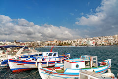 Traditional Greek fishing boats at harbor of Sitia town on eastern part of Crete island, Greece Stock Images