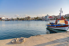Traditional Greek fishing boats at harbor of Sitia town on eastern part of Crete island, Greece Royalty Free Stock Photos