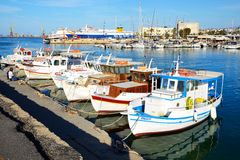 The traditional Greek fishing boats Royalty Free Stock Photo