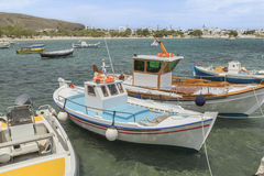 Traditional Greek fishing boats stock images