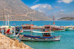 Traditional greek fishing boats in port near Aghios Nikolaos town Stock Image