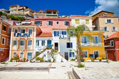 Traditional Greek houses in  of Parga village. Greece. Royalty Free Stock Photography