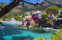 Traditional Greek fishing village royalty free stock photos