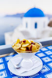 Traditional Greek food and homemade red wine Royalty Free Stock Images