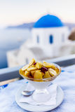 Traditional Greek food and homemade red wine Stock Images
