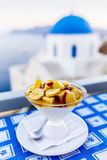 Traditional Greek food and homemade red wine Stock Photos