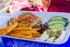 Traditional greek food. On the plate royalty free stock photography
