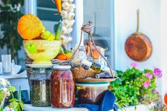 Traditional Greek food on the shop bench in Stock Photography