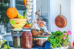 Traditional Greek food on the shop bench in Royalty Free Stock Images
