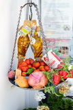 Traditional Greek food in the shop of Santorini island Royalty Free Stock Image