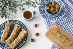 Traditional Greek food, snack, flat lay with plate baklava-3 stock images