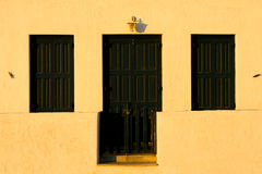 Traditional Greek home. Architectural details of colorful Greek home royalty free stock photos