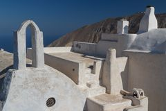 Traditional greek house in Pyrgos village, Santorini island Stock Photos