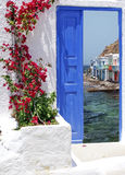 Traditional greek house on Santorini island Royalty Free Stock Images