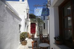 Typical greek island taverna in Tinos, Greece Stock Photography