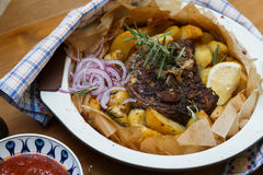 Traditional Greek kleftiko, an oven-baked lamb stew Stock Image