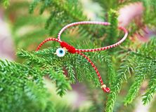 Traditional greek March bracelet - greek martis Stock Photo